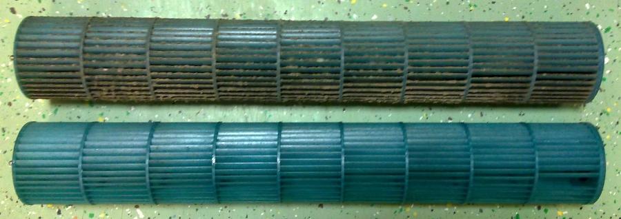 Két klíma ventilátora tisztítás előtt és után